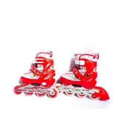 Ролики раздвижные R190 рама алюминий S-64*22 мм ПВХ жесткость 82а цвет красный Размер: S 29-33