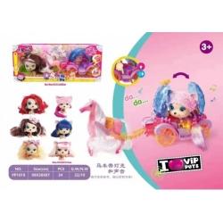 Игрушка куклы с длинными волосами и лошадь с каретой №РР1010 47*11,5*20)см (24)