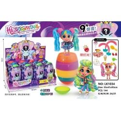 Игрушка №LK1034 кукла ОМО 6-слойная кукла сюрприз с радужным яйцом с дл. волосами и подсв. 4цв (144)