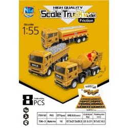 """Игрушка """"грузовики"""" (16,4*7,6)см упаковка 8 шт 3 выда №706-3 (144)"""