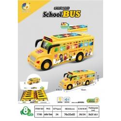 """Игрушка музыкальная светящаяся """"школьный автобус""""(5.5*16*6.3)см упаковка 8 шт №7705 (192)"""