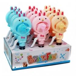 """Детский вентилятор №HL498-34 с мыльными пузырями """"зайчик"""" 3цв (21.1*8)см (192)"""