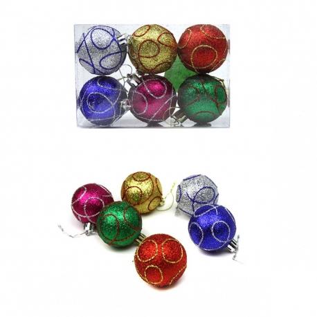 E17 Игрушки №5Н-6 новог. шары висяч. пл. с рис полос. 6шт в пр. пач. 6цв 5см (14,5*9,7*4,8) (216)