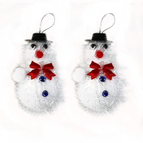 E19 Игрушки №DC108-7056 снеговик с блест. нитками и шапкой в кл 2шт цена за набор (8,5*6*4,5)см (450)