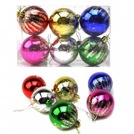 E25 Игрушки №YH-139015-6 (YH-13901-6) новог шары висяч. пл с рис салют 6шт 6цв 6см (14,5*9,7*4,8) (120)
