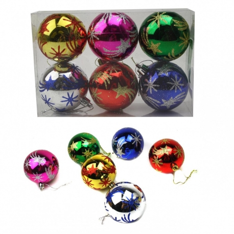 E31 Игрушки №YH-14046-6 новог шары висяч. пл с рис. звезда 6цв 6см (14,5*9,7*4,8) (120)