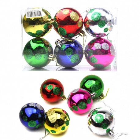 E51 Игрушки №YH-6018-5 новог. шары висяч. пл. с рис горох круг в прозр пач 6цв 5см (14,5*9,7*4,8) (216)