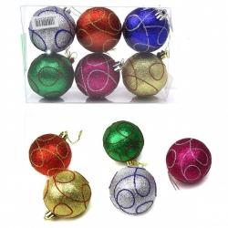E53 Игрушки №YH-9185-6 новог. шары висяч. пл. пудрой блеск+волна в пакете 6шт 6цв (17,5*11,5*6) (120)