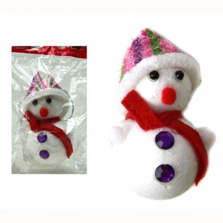 E54 Игрушки №YY1710(1710-1) снеговик с пеной и ткан шапкой и шарф без бат бел. +4цв (12*6,5*4,5) (600)
