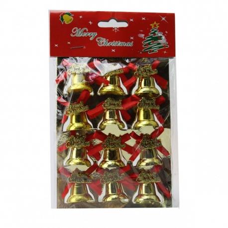 E57 Колокольчики №DC59-7003 новог пл 2,6см 316зол+100сер 12шт Merry Christmas и бант (19,4*11*2,1) (416)
