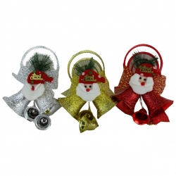 E59 Колокольчики №ZY1701 3шт в наб. Merry Christmas и Дед Мороз 8*4,5см в кл. 120зол+60сер. (180)