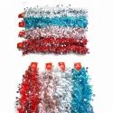 E64 Новогодний дождик №HD-13 мишура 2м разноцветный+сереб. 4цвета 12шт в кл. (600)