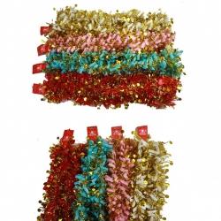 E65 Новогодний дождик №HD-13-1 мишура 2м разноцветный+золото. 4цвета 12шт в кл. (600)