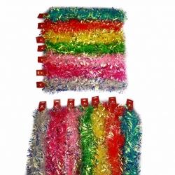 E66 Новогодний дождик №HD-9 мишура 2м разноцветный 8цветов 8шт в кл. (608)