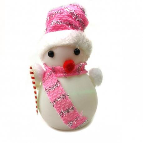 E113 Ночник №ZXY-7 снеговик пл. 3бат. AG1 с палкой и шапкой бел. 3цв 1шт в кл. (12*6*5,5)см с код. (180)